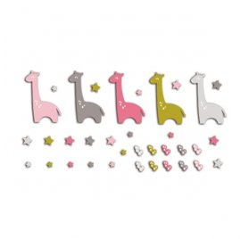 Die-cuts 'Toga' 20 Formes Girafes Rose/Vert/Taupe