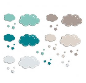 Die-cuts 'Toga' 20 Formes Nuages Bleu/Taupe