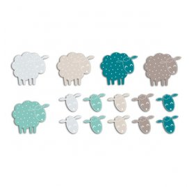 Die-cuts 'Toga' 20 Formes Moutons Bleu/Taupe