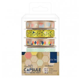 Lot de 6 rubans 'Docrafts - Capsule Geometric Kraft' 6x1m