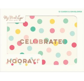 Cartes et enveloppes 'My Mind's Eye - Hooray!' Qté 12