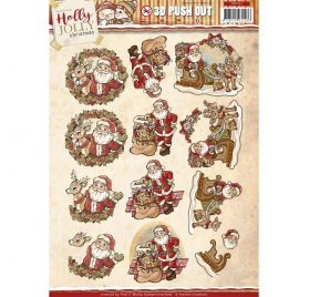 Découpage 'Yvonne Creations - Holly Jolly Christmas' Push Out 3D Père Noël