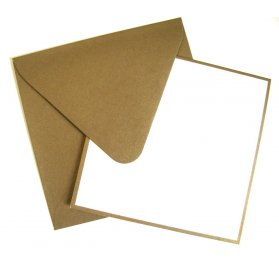 Lot de 8 cartes et enveloppes 'American Crafts' Or/Blanc 13.9x13.9 cm
