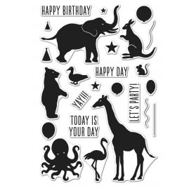 Tampons transparents 'Hero Arts' Birthday Animal Silhouettes Qté 25