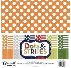 Assortiment 30x30 'Echo Park Paper - Dots & Stripes' Little Girl