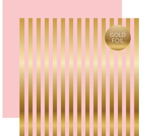 Papier double 30x30 'Echo Park Paper - Silver Foil' Stripe Light Pink