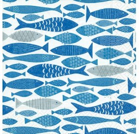 Serviettes 33x33 'Graine Créative' Shoal of Fish