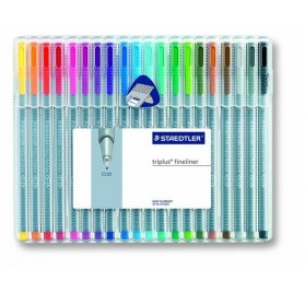 Set de 20 feutres Triplus Fineliner 'Staedtler' Couleurs brillantes 0.3 mm