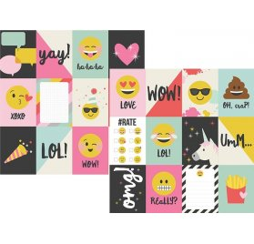 Papier double 30x30 'Simple Stories - Emoji Love' 3x4 Journaling Card Elements