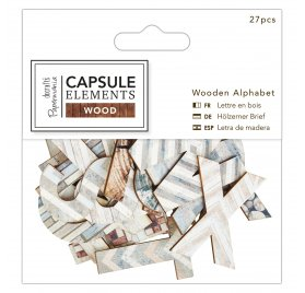 Lettres en bois 'Docraft - Capsule Elements Wood' Qté 27