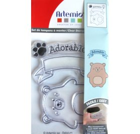 Tampon transparent 'Artemio-Adorable' Ourson Qté 5