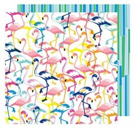 Papier double 30x30 'American Crafts - On a Whim' Let's Flamingle