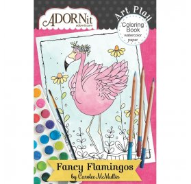 Carnet de coloriage 10cmx15cm ' Adornit - Fancy Flamingo ' 12 pages