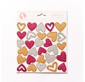 Chipboards 'Freckled Fawn' Glitter Hearts