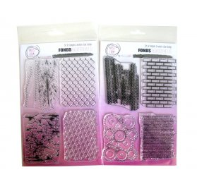 Kit Tampons transparents 'Miss Créa - Fonds Grunge' 2 Planches A5