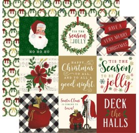 Papier double 30x30 'Echo Park Paper - Twas The Night Before Christmas' 4x4 Journaling Cards
