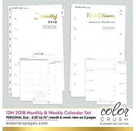 Pages pour Organiseur Personal Planner 'Webster's Pages - Color Crush' 12 mois Calendrier 2018